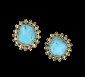 Pair of Gold Vermeil Turquoise Ear Clips