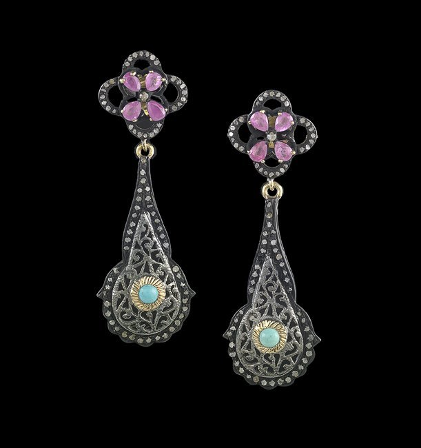 Pair of Sterling Silver Ruby & Turquoise Earrings