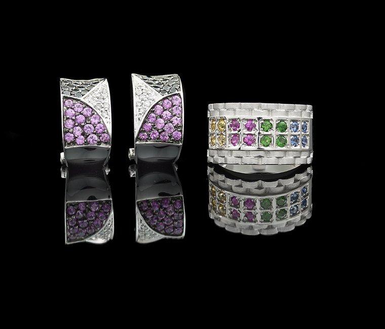 2 Pcs. of 18 Kt. Gold, Sapphire & Diamond Jewelry