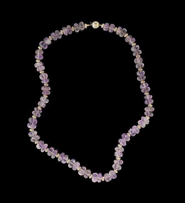 14 Kt. Yellow Gold and Carved Amethyst Necklace