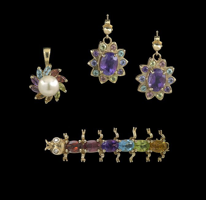 3 Pieces of Yellow Gold and Multi-Stone Jewelry