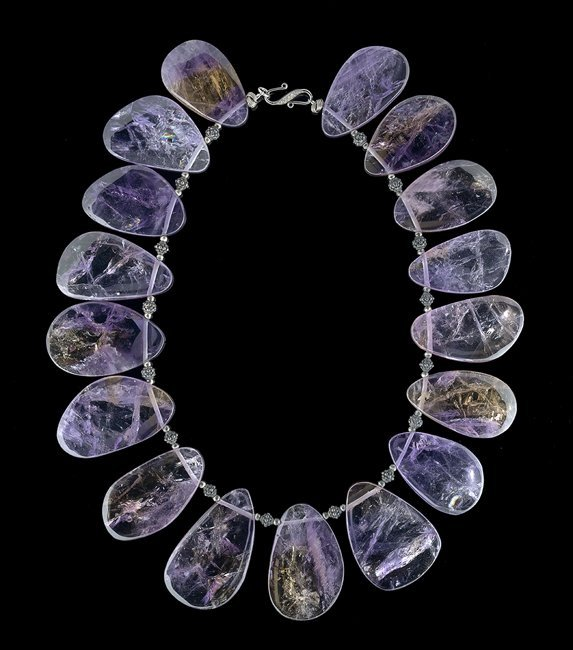 Sterling Silver, Ametrine and Diamond Necklace