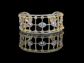 Silver, Diamond, Emerald and Tanzanite Bracelet