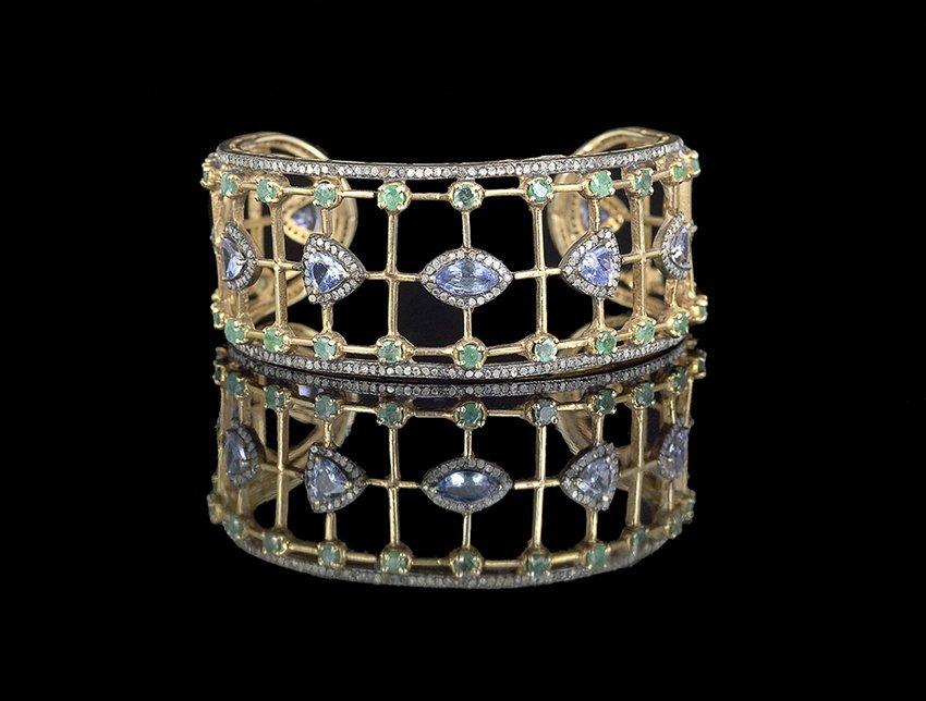 Silver, Diamond, Emerald and Tanzanite Bracelet