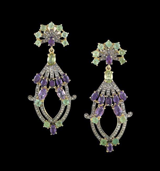 Pair of Vermeil and Gemstone Earrings