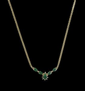 14 Kt. Yellow Gold, Emerald and Diamond Necklace