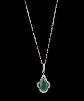 14 Kt. Yellow Gold, Emerald and Diamond Pendant