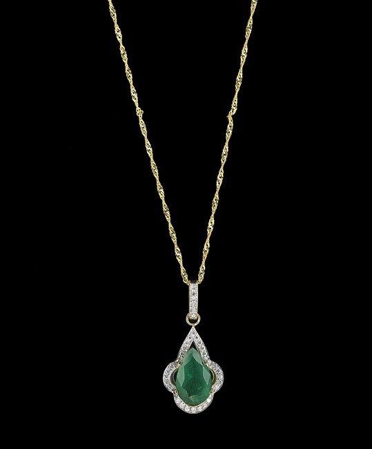 14 Kt. Yellow Gold, Emerald and Diamond Pendant