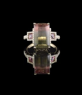 14 Kt. Gold, Bi-Color Tourmaline and Diamond Ring