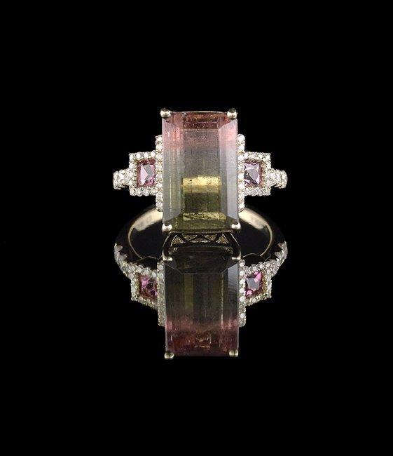 14 Kt. Gold, Bi-Color Tourmaline and Diamond Ring