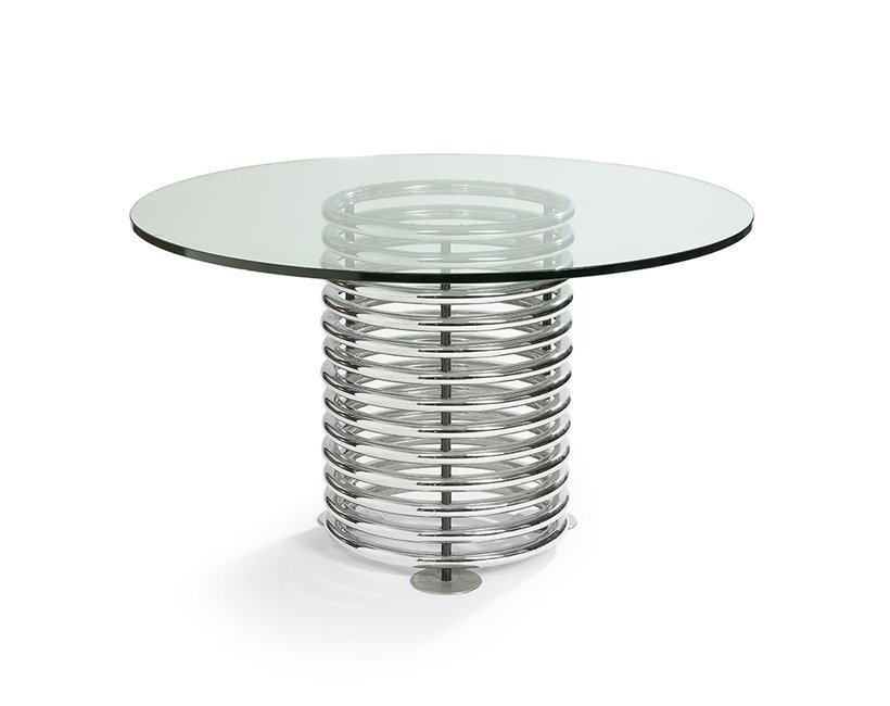 Contemporary Chromed Steel and Glass Side Table