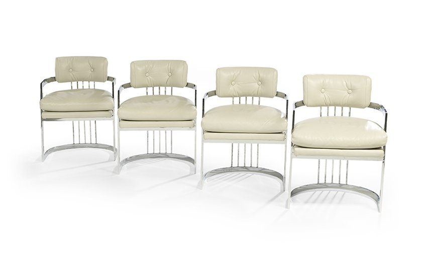 Four Modern Chromed Steel and Leather Armchairs