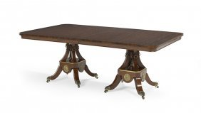 Regency-Style Rosewood-Banded Dining Table