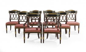 8 Regency-Style Parcel-Gilt Dining Chairs