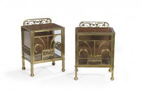 Pair of Art Deco Mahogany, Brass & Glass Cabinets