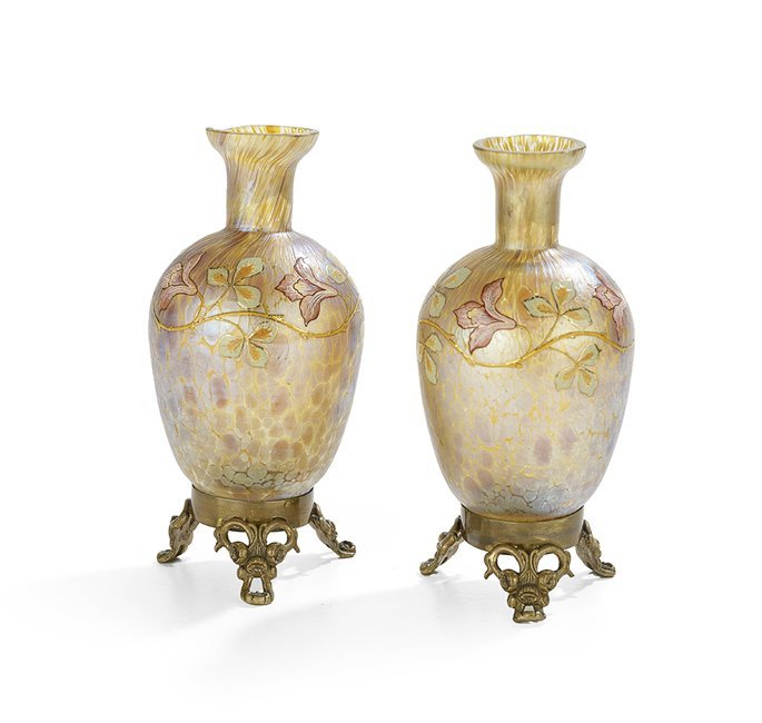 Pair of Austrian Enameled Candia Papillion Vases