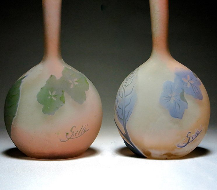 Unusual Pair of Emile Galle Cameo Glass Vases - 2