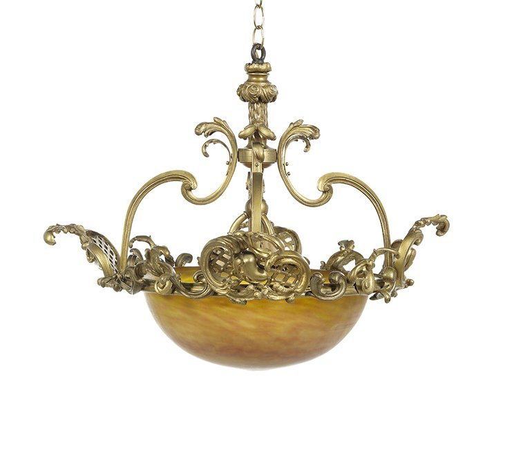 Daum Nancy Art Glass & Bronze Pendant Chandelier
