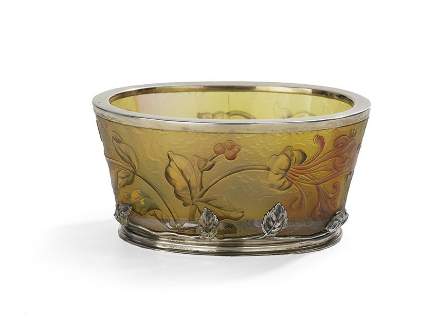 Daum Nancy Enameled and Silver-Mounted Glass Bowl