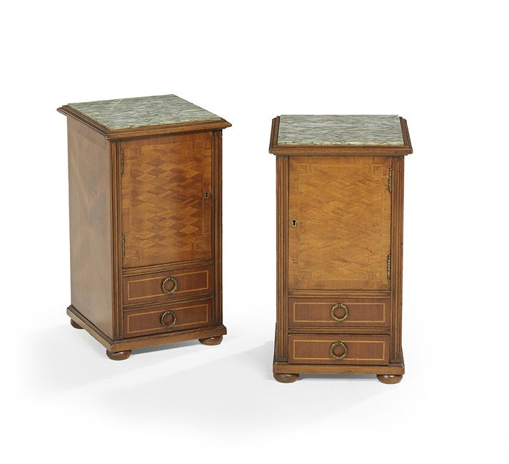 Pair of Continental Marble-Top Cabinets
