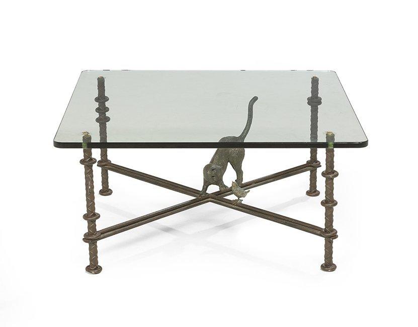 Ilana Goor Iron and Glass-Top Coffee Table