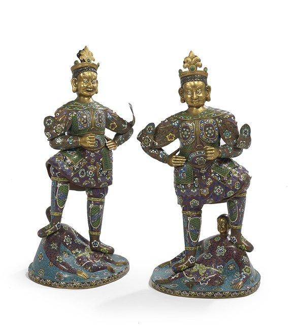 Monumental Pair of Lokapala Figures