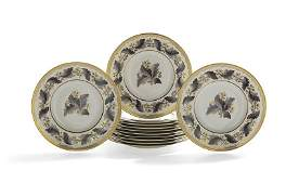 """12 Royal Crown Derby """"Portman Oak"""" Plates"""
