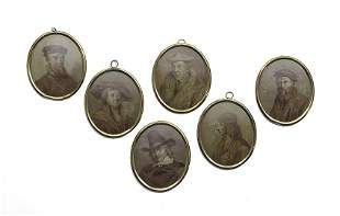 Six Continental Well-Painted Miniature Portraits