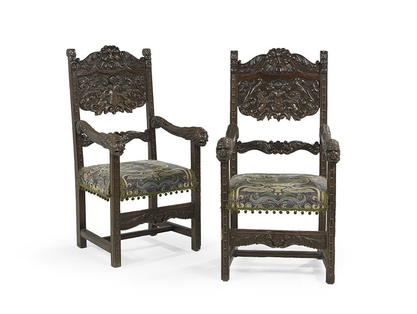 Pair of Baronial-Style Carved Oak Armchairs