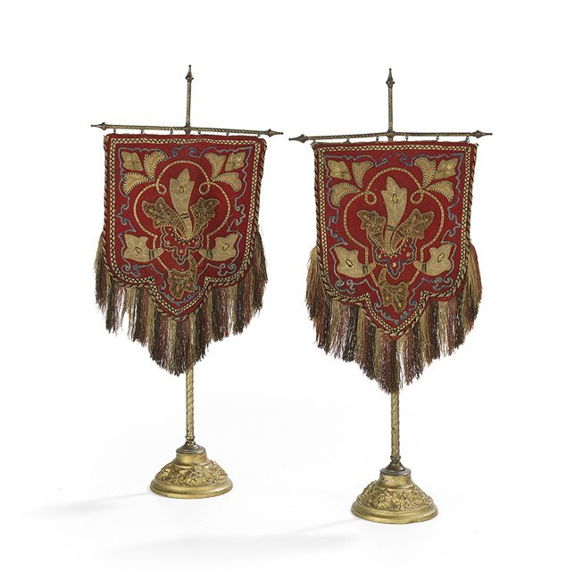 Pair of Victorian Embroidered Felt Candle Screens