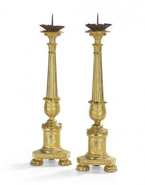 Pair of French Restauration Giltwood Altar Sticks