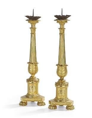 Pair of French Restauration Giltwood Altar Sticks