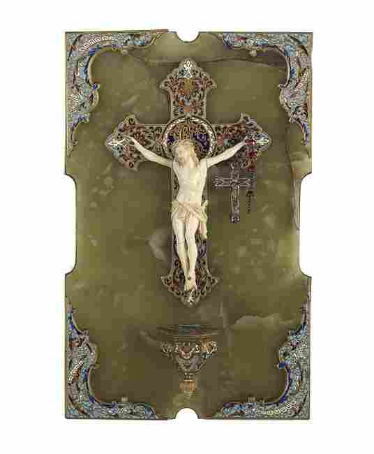 French Onyx and Champleve Enamel Holy Water Font