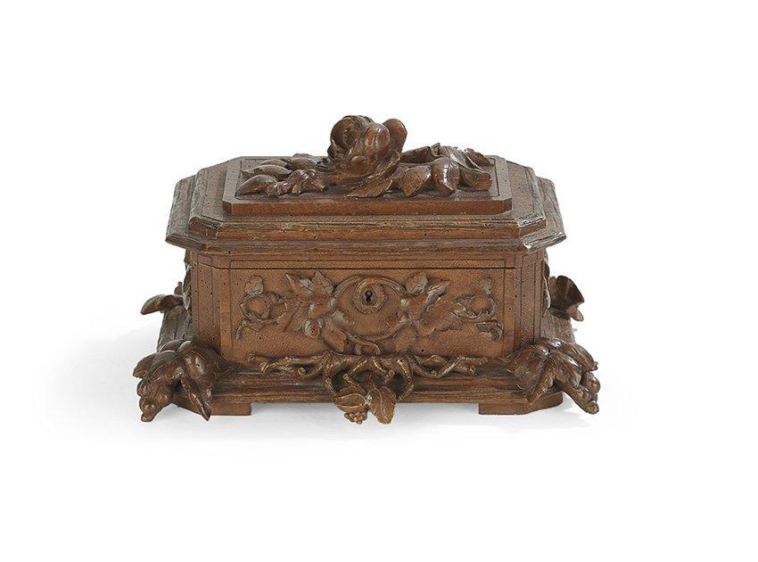 German Black Forest Carved Walnut Jewel Casket