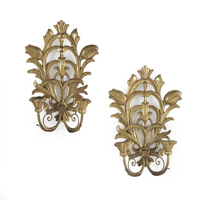 Pair of Italian Pierced Giltwood Sconces
