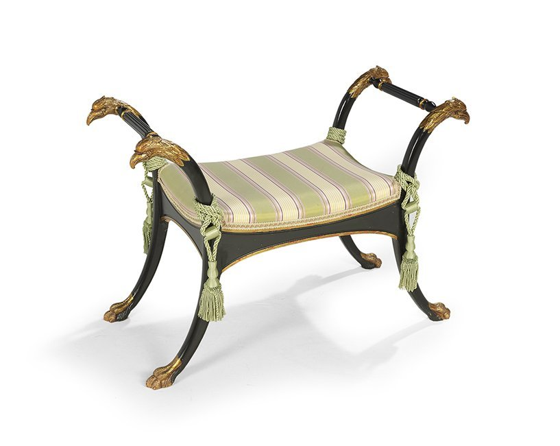 Neoclassical Ebonized and Parcel-Gilt Window Seat