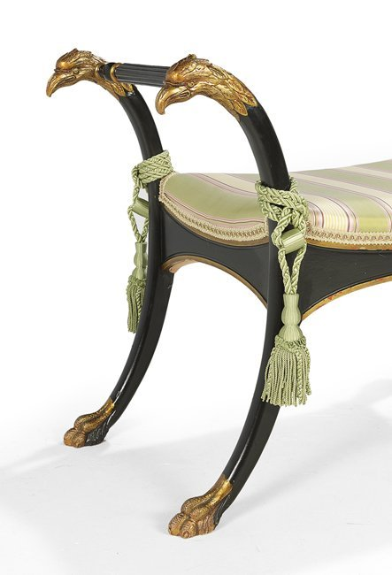 Neoclassical Ebonized and Parcel-Gilt Window Seat - 2