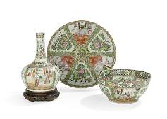 3 Pcs of Chinese Export Rose Medallion Porcelain