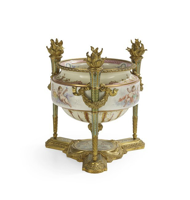 French Porcelain, Bronze and Enamel Centerpiece - 2