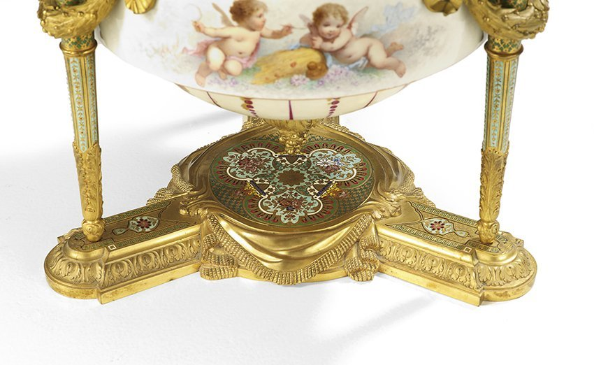French Porcelain, Bronze and Enamel Centerpiece - 3