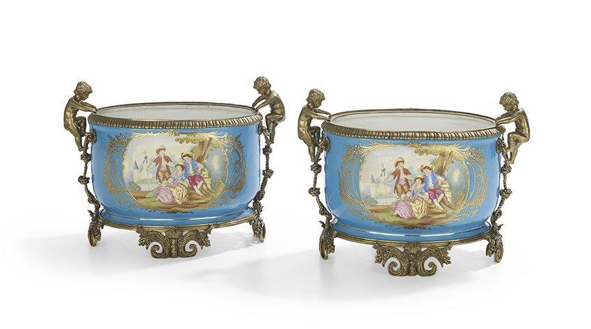 Pair of Gilt-Bronze-Mounted Porcelain Jardinieres