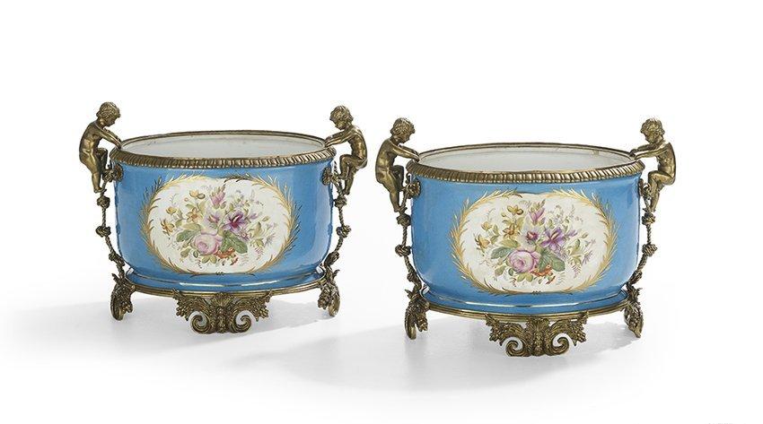Pair of Gilt-Bronze-Mounted Porcelain Jardinieres - 2