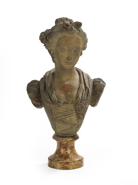 French Painted Terracotta Bust of a Woman