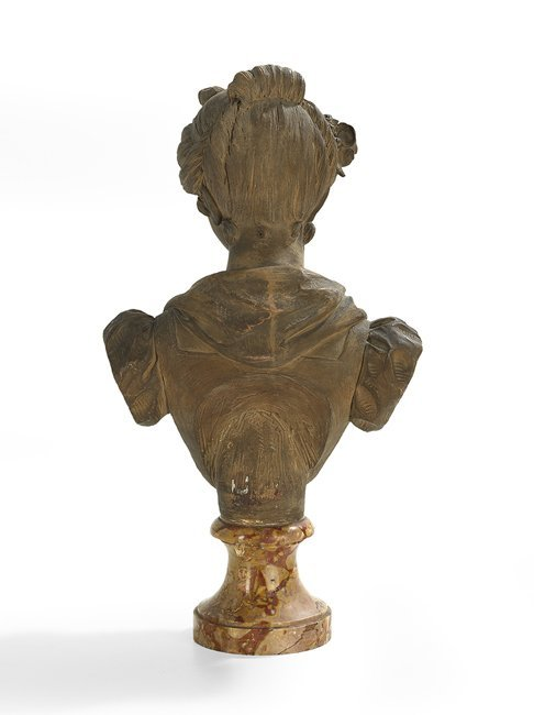 French Painted Terracotta Bust of a Woman - 2