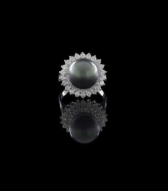 14 Kt. Gold, Tahitian Pearl and Diamond Ring