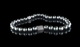 14 Kt. Gold, Silver, & Tahitian Pearl Necklace