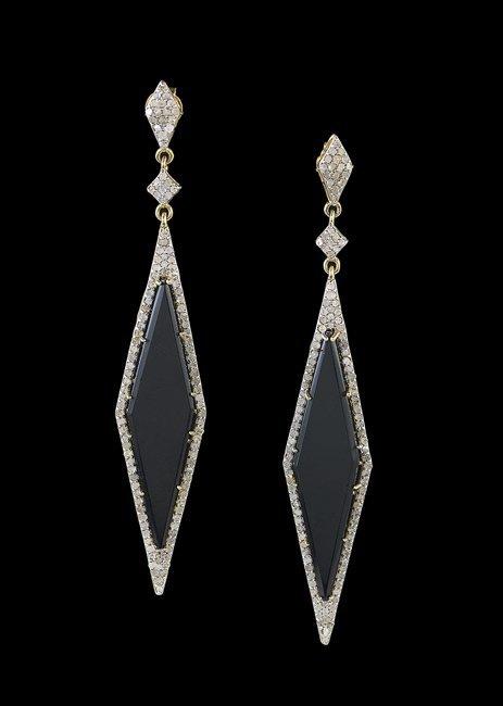 Pair of Vermeil, Black Onyx and Diamond Earrings