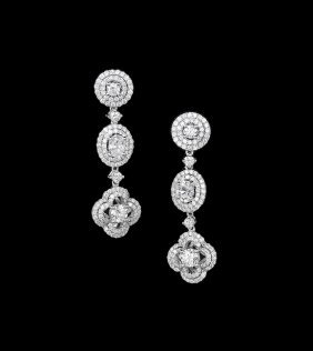 Pair of 18 Kt. White Gold and Diamond Earrings