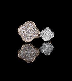 18 Kt. White/Rose Gold and Diamond Ring