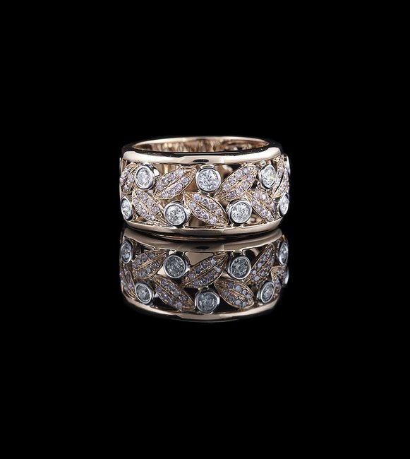 18 Kt. Rose/White Gold and Diamond Band